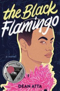 Bokomslag The Black Flamingo. En person med en rosa boa.